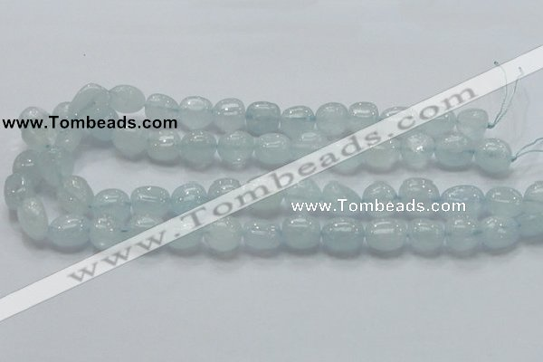 CAQ54 15.5 inches 10*15mm nugget natural aquamarine gemstone beads
