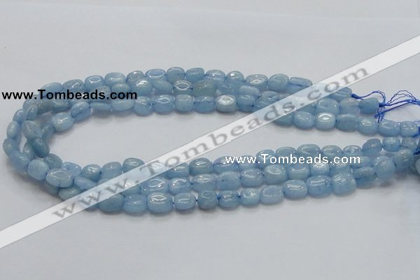 CAQ56 15.5 inches 9*12mm nugget natural aquamarine gemstone beads