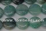 CAQ619 15.5 inches 12mm flat round aquamarine gemstone beads