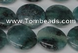 CAQ622 15.5 inches 18mm flat round aquamarine gemstone beads