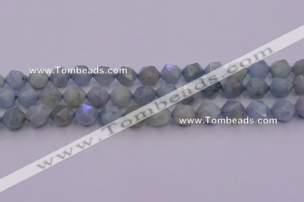 CAQ793 15.5 inches 12mm faceted nuggets aquamarine gemstone beads