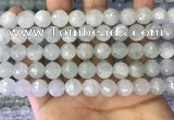 CAQ878 15.5 inches 10mm faceted round aquamarine gemstone beads