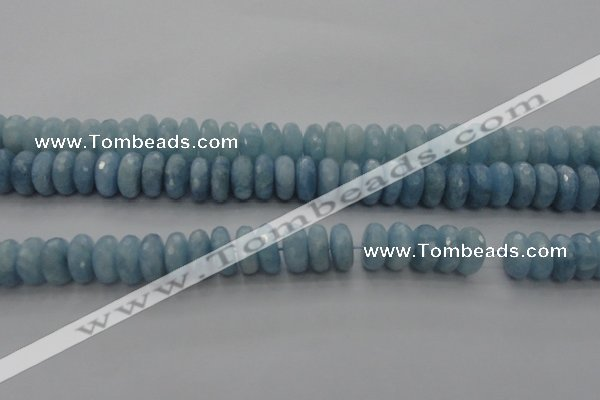 CAQ90 15.5 inches 6*13mm faceted rondelle AA grade aquamarine beads