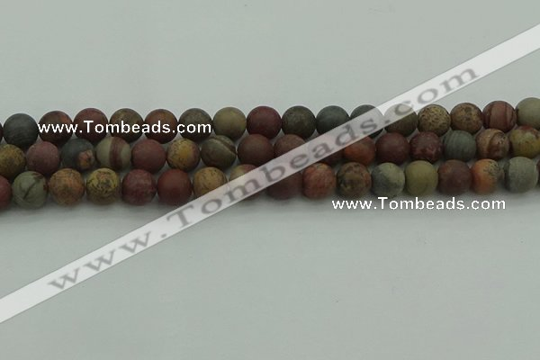CAR362 15.5 inches 8mm round matte red artistic jasper beads