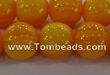 CAR405 15.5 inches 14mm round synthetic amber beads wholesale