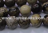 CAR52 15.5 inches 8mm round yellow artistic jasper beads