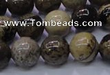 CAR53 15.5 inches 10mm round yellow artistic jasper beads