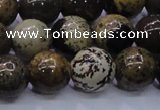 CAR54 15.5 inches 12mm round yellow artistic jasper beads
