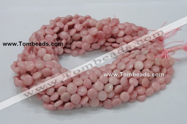 CAS15 15.5 inches 10mm flat round pink angel skin gemstone beads