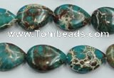 CAT11 15.5 inches 13*18mm flat teardrop natural aqua terra jasper beads