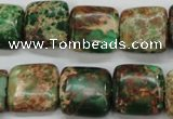 CAT115 15.5 inches 16*16mm square dyed natural aqua terra jasper beads