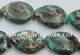 CAT12 15.5 inches 18*25mm flat teardrop natural aqua terra jasper beads