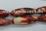 CAT208 15.5 inches 10*30mm rice dyed natural aqua terra jasper beads