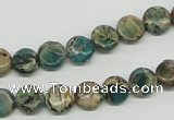 CAT5007 15.5 inches 8mm flat round natural aqua terra jasper beads