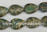 CAT5029 15.5 inches 13*18mm flat teardrop natural aqua terra jasper beads