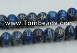 CAT52 15.5 inches 8*10mm rondelle dyed natural aqua terra jasper beads
