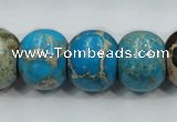 CAT64 15.5 inches 15*18mm rondelle dyed natural aqua terra jasper beads