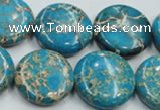 CAT65 15.5 inches 25mm flat round dyed natural aqua terra jasper beads