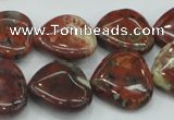 CBD01 15.5 inches 20*20mm heart brecciated jasper gemstone beads
