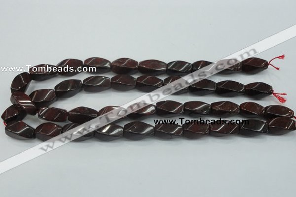 CBD12 15.5 inches 10*20mm twisted rice brecciated jasper gemstone beads