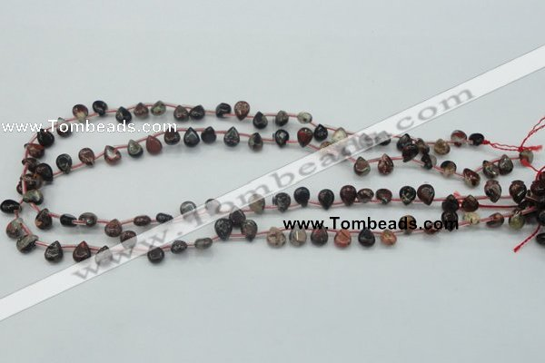 CBD15 6*8mm top-drilled teardrop brecciated jasper gemstone beads