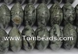 CBD212 15.5 inches 10*20mm rondelle green brecciated jasper beads