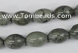 CBD214 15.5 inches 10*14mm rice green brecciated jasper beads
