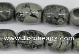 CBD215 15.5 inches 16*20mm drum green brecciated jasper beads