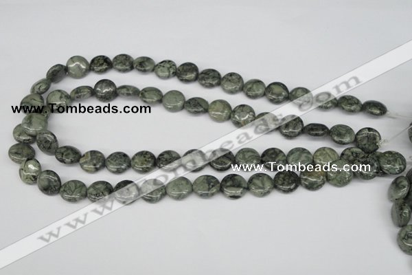 CBD221 15.5 inches 12mm flat round green brecciated jasper beads