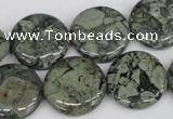 CBD222 15.5 inches 20mm flat round green brecciated jasper beads