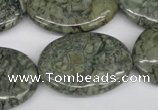 CBD227 15.5 inches 22*30mm oval green brecciated jasper beads