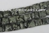 CBD231 15.5 inches 8*8mm square green brecciated jasper beads