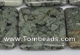 CBD237 15.5 inches 30*30mm square green brecciated jasper beads