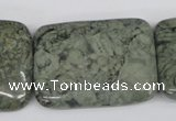 CBD240 15.5 inches 30*40mm rectangle green brecciated jasper beads
