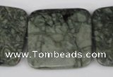 CBD246 15.5 inches 35*35mm faceted square green brecciated jasper beads