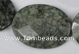 CBD250 15.5 inches 30*40mm faceted oval green brecciated jasper beads