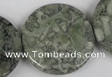 CBD255 15.5 inches 35mm faceted coin green brecciated jasper beads