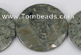 CBD256 15.5 inches 40mm faceted coin green brecciated jasper beads
