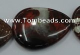 CBD35 15.5 inches 30*40mm flat teardrop brecciated jasper gemstone beads