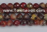 CBD368 15.5 inches 4mm faceted round brecciated jasper beads