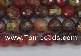 CBD369 15.5 inches 6mm faceted round brecciated jasper beads