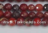 CBD376 15.5 inches 6mm faceted round poppy jasper beads