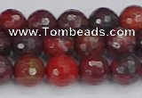 CBD377 15.5 inches 8mm faceted round poppy jasper beads