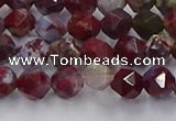 CBD383 15.5 inches 6mm faceted nuggets brecciated jasper beads