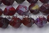 CBD384 15.5 inches 8mm faceted nuggets brecciated jasper beads