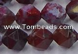 CBD386 15.5 inches 12mm faceted nuggets brecciated jasper beads