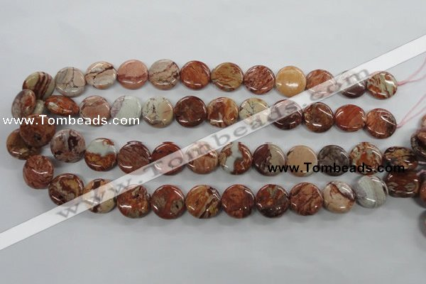 CBD51 15.5 inches 16mm flat round brecciated jasper gemstone beads