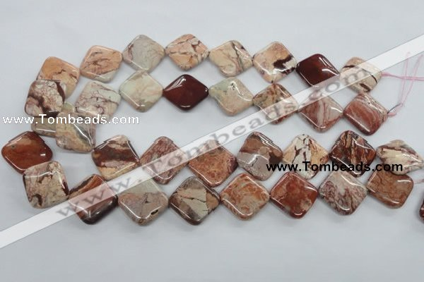 CBD54 15.5 inches 20*20mm diamond brecciated jasper gemstone beads
