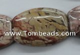 CBD75 15.5 inches 25*35mm flat drum brecciated jasper gemstone beads