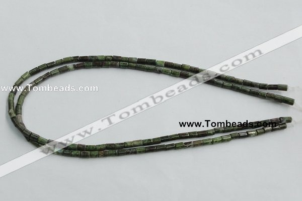 CBG07 15.5 inches 4*6mm cylinder bronze green gemstone beads